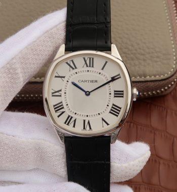 Drive de Cartier SS White Dial Leather Strap A9015