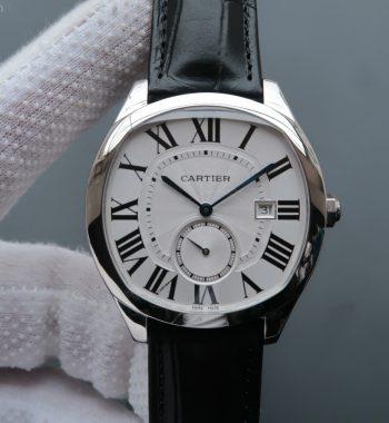 Drive de Cartier SS White Textured Dial Black Leather Strap A23J