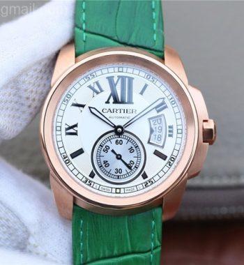 JF Calibre de Cartier RG White Dial Leather Strap A23J