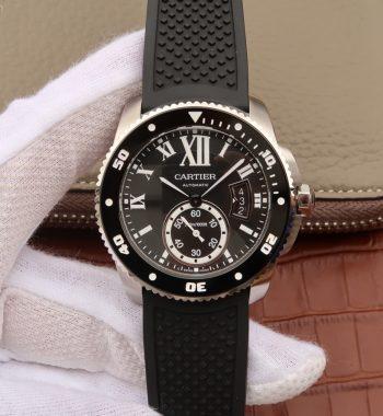 JJF Calibre De Cartier Diver SS Black Black Rubber Strap A23J