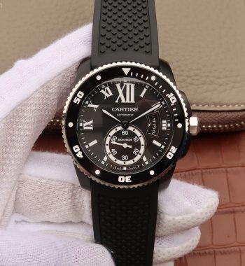 JJF Calibre De Cartier Diver DLC All Black Black Rubber Strap A23J