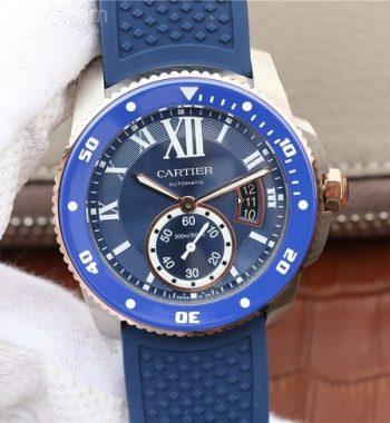 JJF Calibre De Cartier Diver SS Blue Dial RG Mark Blue Rubber Strap A23J