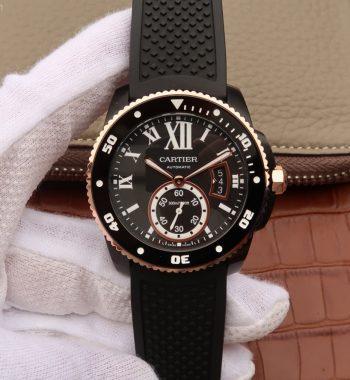 JJF Calibre De Cartier Diver DLC Black Dial RG Bezel Black Rubber Strap A23J