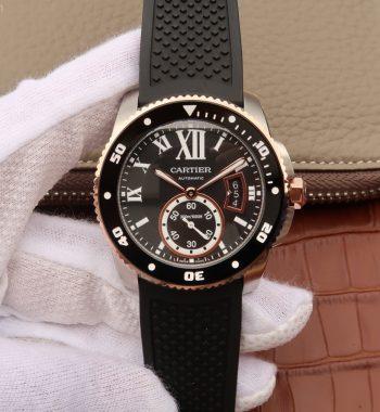 JJF Calibre De Cartier Diver SS Black Dial RG Bezel Black Rubber Strap A23J