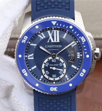 JJF Calibre De Cartier Diver SS Blue Blue Rubber Strap A23J