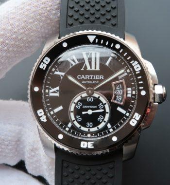 TF Calibre De Cartier Diver Black Dial Black Rubber Strap A23J