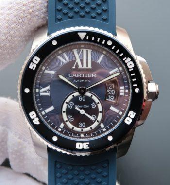 TF Calibre De Cartier Diver SS Blue Dial Blue Rubber Strap A9015