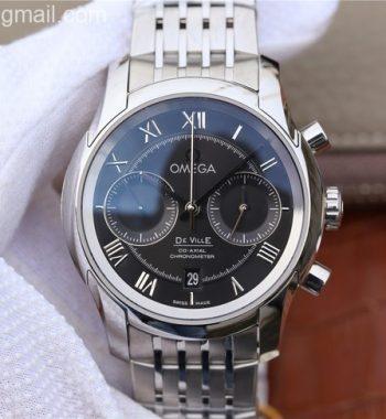 OMF De Ville Chronograph 42mm Black Dial SS Bracelet A9300