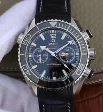 OMF Planet Ocean Master Chronometer Black LiquidMetal Leather Strap A9900