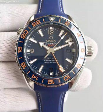 Planet Ocean GMT Goodplanet Blue Bezel Orange Marker Blue Dial Blue Rubber Strap A8605