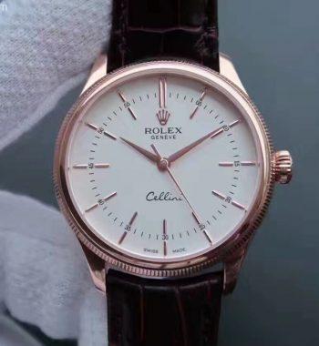 MK Cellini Time 50505 RG White Dial Leather Strap A3132