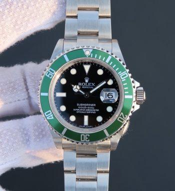Submariner 16610 LV Green Metal Bezel Noob SS Bracelet A2836