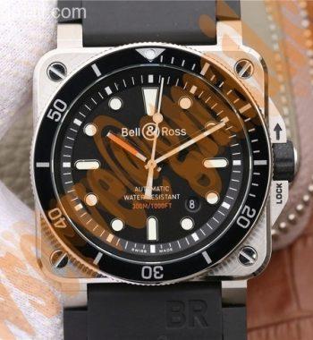 BR 03-92 Diver SS Black Dial Rubber Strap MIYOTA 9015