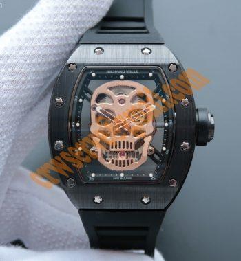 RM052 Black Ceramic Gold Skull Dial Black Rubber Strap MIYOTA8215