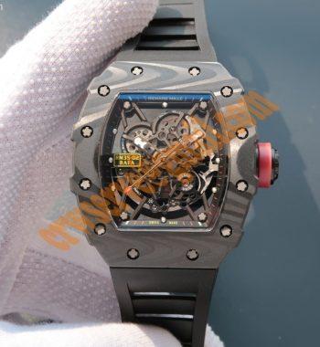 RM035 Rafael Nadal Forge Carbon Titanium Case KVF Skeleton Dial Red Black Rubber Strap MIYOTA8215