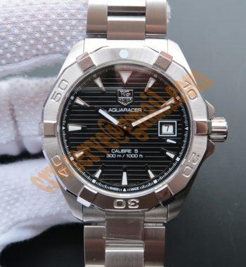 Aquaracer Calibre 5 300M SS Black Dial SS Bracelet A2824