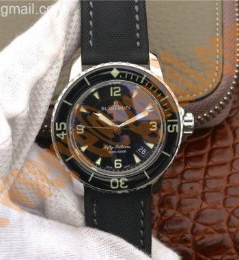 Fifty Fathoms ZF Black Black Dial Sail-canvas Strap A2836