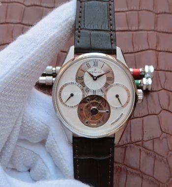 El Primero Tourbillon SS AXF White Textured Dial Brown Leather Strap