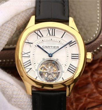 Drive de Cartier Tourbillon YG White Textured Dial Leather Strap