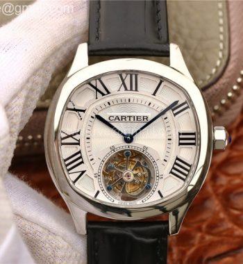 Drive de Cartier Tourbillon SS White Textured Dial Leather Strap