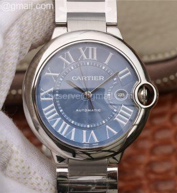 Cartier Ballon Bleu 42mm SS CRF Blue Textured Dial SS Bracelet A2824