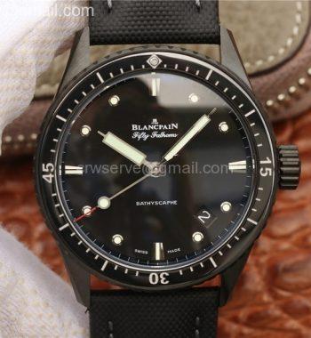 Blancpain Fifty Fathoms Bathyscaphe Black Ceramic GF Black Dial Black Sail-Canvas Strap A1315