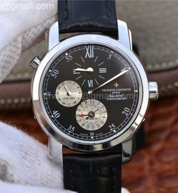 Malte Dual Time Regulator SS K11 Maker Black Dial Black Leather Strap A23J