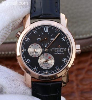 Malte Dual Time Regulator RG K11 Maker Black Dial Black Leather Strap A23J