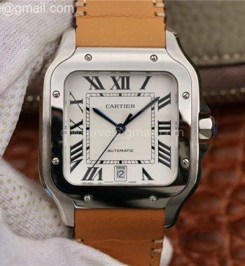 Santos de Cartier Large 2018 KOR White Dial Brown Leather Strap MIYOTA 9015