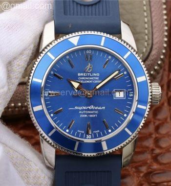SuperOcean Heritage ii B20 42mm SS OMF Blue Dial Blue Rubber Strap A2824