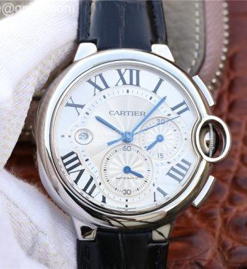 Ballon Bleu De Cartier Chrono 47mm SS ZF White Textured Dial Black Leather Strap A8101