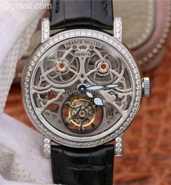 Giga Tourbillon SS Skeleton Dial Diamonds Bezel Black Leather Strap