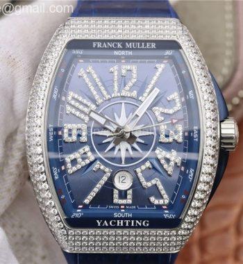 Vanguard V45 SS Full Diamonds OXF Blue Textured Dial Diamonds Markers Blue Gummy Strap A2824