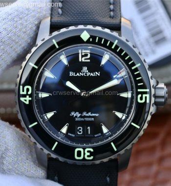 Fifty Fathoms Grande Date Black Titanium HGF Black Dial Sail-canvas Strap A23J