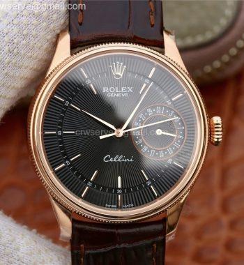 Cellini Date 50515 RG MKF Black Dial Black Leather Strap A3165