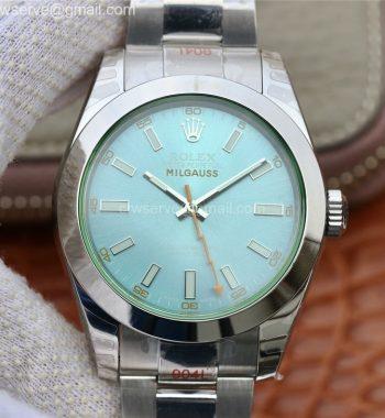 Milgauss 116400 GV Real Green Sapphire 904L DJF Blue Dial SS Bracelet A2836