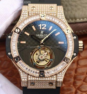 Big Bang Tourbillon RG Diamonds Black Textured Dial Black Rubber Strap