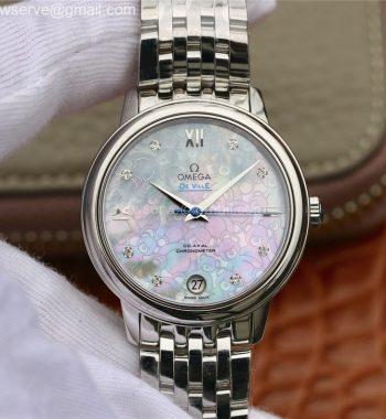 De Ville Prestige Ladies 32.7 MKF White Textured Dial Diamonds Markers SS Bracelet MIYOTA 9015
