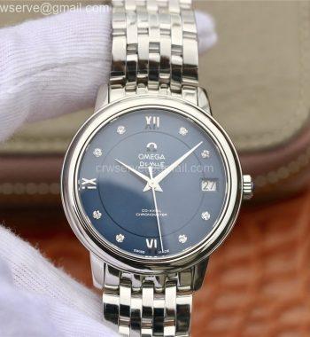 De Ville Prestige Ladies 32.7 MKF Blue Dial Diamonds Markers SS Bracelet MIYOTA 9015