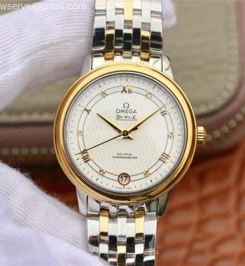 De Ville Prestige Ladies 32.7 MKF White Dial Roman Markers SS/YG Bracelet MIYOTA 9015
