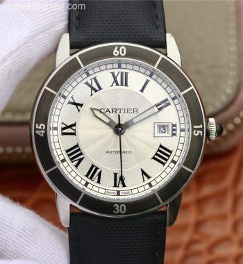 Ronde Croisière De Cartier SS White Dial Balack Bezel Black Nylon Strap A2824