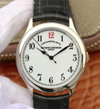 Historiques Chronomètre Royal 1907 SS GSF White Dial Red 12 Black Leather Strap MIYOTA 9015