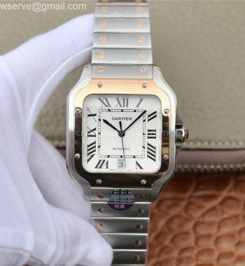 Santos de Cartier 40mm 2018 BVF Edition RG Bezel White Dial SS SmartLinks Bracelet MIYOTA 9015