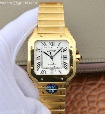 Santos de Cartier 40mm 2018 BVF Edition YG White Dial YG SmartLinks Bracelet MIYOTA 9015