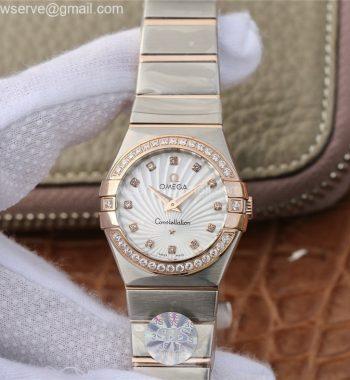 Constellation Ladies 27mm SS/RG White Textured Dial Diamonds Bezel & Markers SS/RG Bracelet ETA Quartz