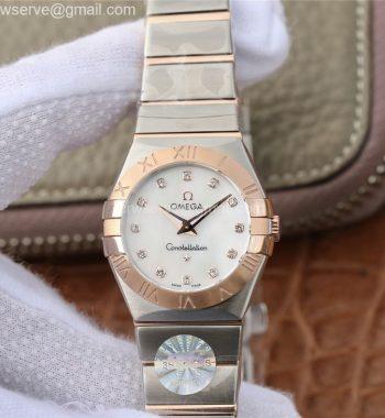 Constellation Ladies 27mm SS/RG White MOP Dial Diamonds Markers SS/RG Bracelet ETA Quartz