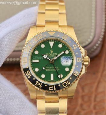 GMT-Master II 116718 LN Black Ceramic YG EWF Edition Green Dial YG Bracelet A2836