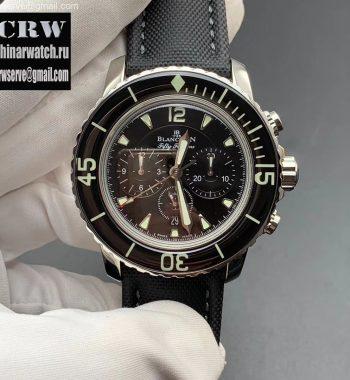 Fifty Fathoms Chronograph SS OMF Edition Black Dial Black Nylon Strap A7750