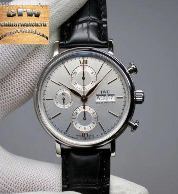 Portofino Chrono SS ZF White Dial RG Markers Black Leather Strap A7750