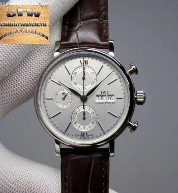 Portofino Chrono SS ZF White Dial SS Markers Brown Leather Strap A7750